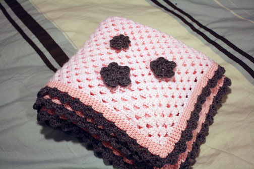 Baby blanket alaska knit nat she is having a baby girl any day now i just sent this out to her last week its just a big crocheted granny square with added trim and flowers dt1010fo