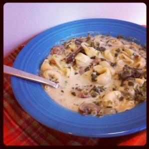 Mushroom & Sausage Soup with Tortellini