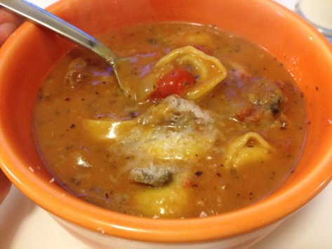 Creamy Tomato Soup with Tortellini and Sausage