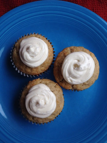 Banana bread cupcakes with dulce de leche icing -- an alternative to boring banana bread