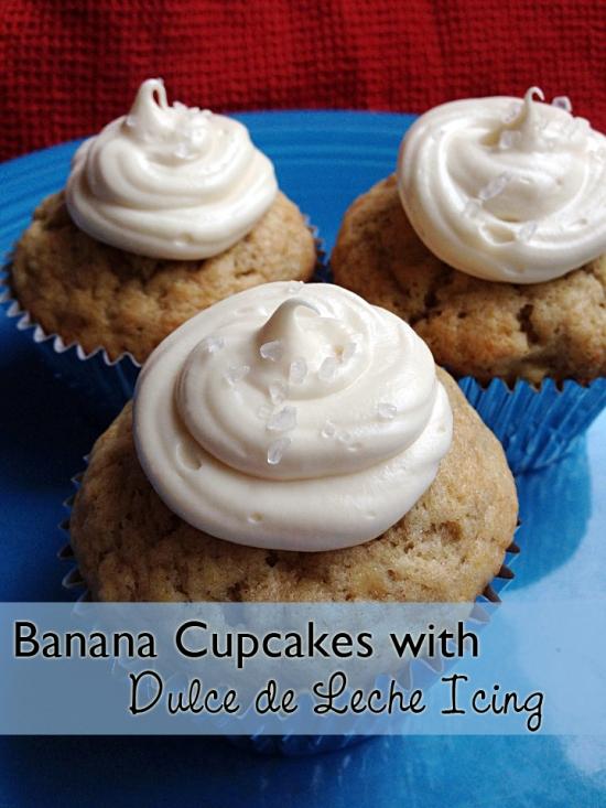 Banana bread cupcakes with dulce de leche icing -- an alternative to boring banana bread