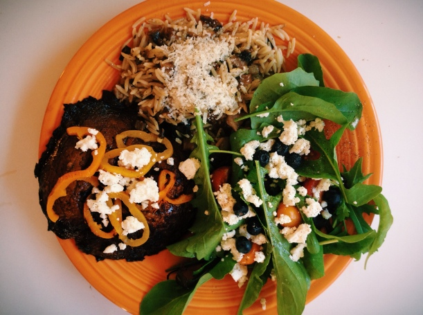 Porcini Orzo with Grilled Portobello Caps and Baby Arugula Salad | Alaska Knit Nat