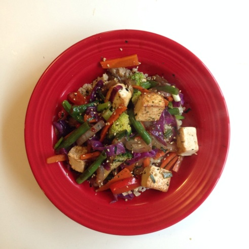 Rainbow Vegetable Stir Fry | A quick, healthy dish from Alaska Knit Nat