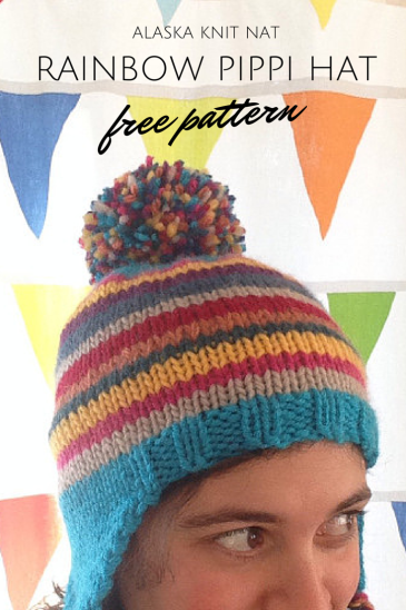 Rainbow Pippi Hat | A free ear flap hat pattern from Alaska Knit Nat
