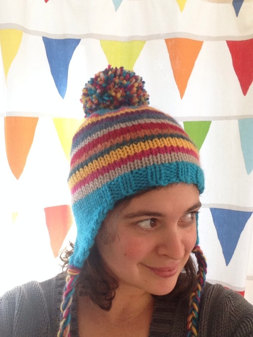 Rainbow Pippi Hat | free ear flap hat pattern from Alaska Knit Nat