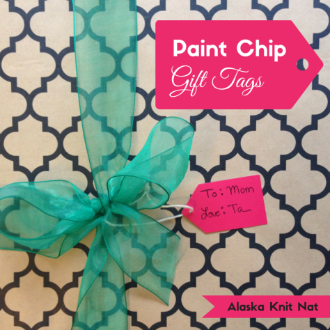Paint chip gift tags | #9 on Alaska Knit Nat's DIY Holiday Craft Guide