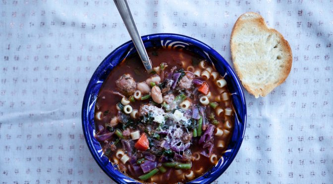 Vegetable soup with Italian sausage || a recipe from Alaskaknitnat.com