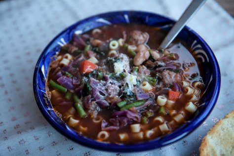 Vegetable soup with Italian sausage    a recipe from Alaskaknitnat.com