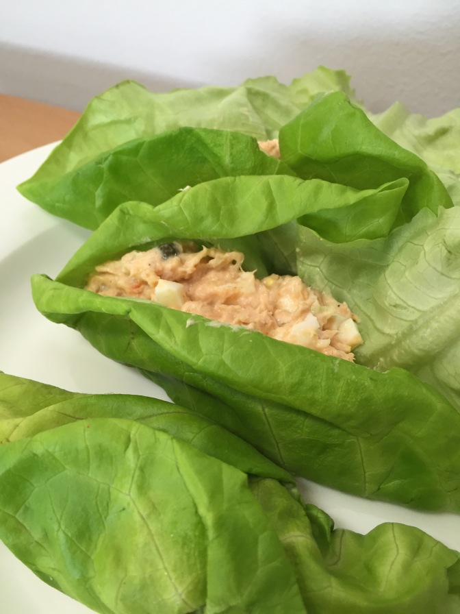 Salmon salad lettuce wraps