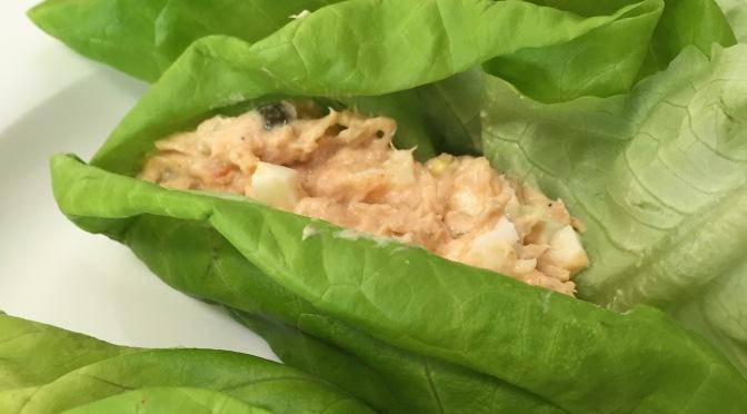 Salmon salad lettuce wraps