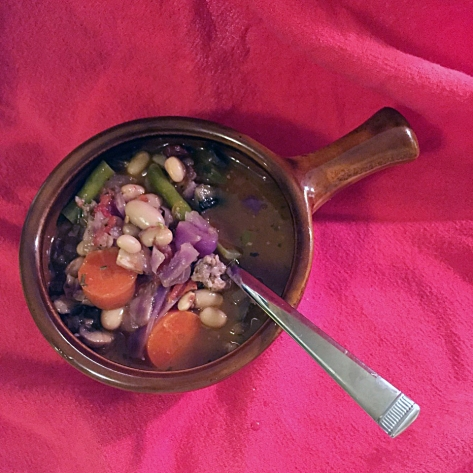 Vegetable Soup with Italian Sausage | A hearty soup recipe from Alaska Knit Nat