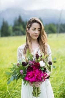 Peonies, wild fern, wild clover, carnation, lisianthus, scabiosa, cattails, eucalyptus | A wild Alaska bouquet by Natasha of Alaskaknitnat.com