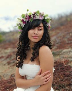 Flower crown made with daisies, lavender button mums, wild willow sprigs, lilac, brunia and ming fern