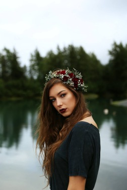 Flower crown made with crimson mini carnations, eucalyptus and baby's breath | designed by Natasha Price of Alaskaknitnat.com
