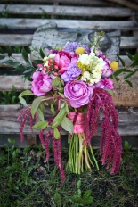 Stock, garden rose, snapdragon, hypericum, solidago, peony, carnation, myrtle, craspedia (billy ball) -- ingredients for a wild, carefree wedding bouquet   by Alaska Knit Nat