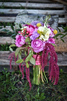 Stock, garden rose, snapdragon, hypericum, solidago, peony, carnation, myrtle, craspedia (billy ball) -- ingredients for a wild, carefree wedding bouquet | by Alaska Knit Nat