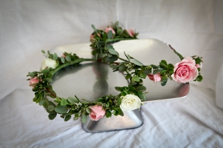 Grecian crowns with eucalyptus, blueberry greens and spray roses