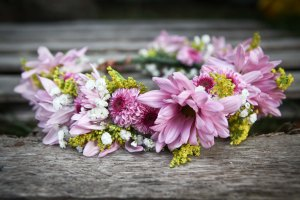 Flower crown made with purple chrysanthemums, lavender daisies, solidago and baby's breath | created by Natasha Price of Alaskaknitnat.com