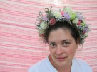 Flower crown made with spray roses, dusty miller, lisianthus, baby's breath, lavender mini carnations and limonium. Designed by Natasha Price of Alaskaknitnat.com