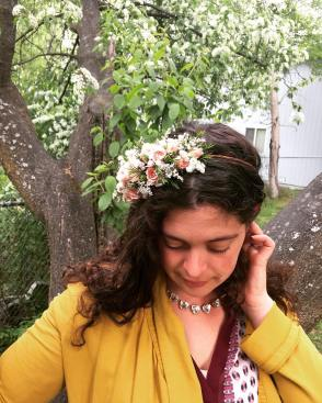 Flower crown made with delicate spray roses, baby's breath, white wax flower and limonium (statice) | created by Natasha Price of alaskaknitnat.com