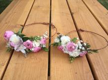 Mother and daughter flower crowns made with pink ranunculus, white alstroemeria, white wax flower, white mini carnations and baby's breath | created by Natasha Price of alaskaknitnat.com