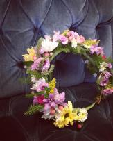 Flower crown made with daisies, button mums, solidago, hypericum berry, mini carnations, wild moss and wild Alaska spruce sprigs | created by Natasha Price of alaskaknitnat.com