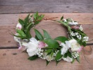 Bridal flower crown with lisianthus, alestroemeria, Italian ruscus, dried lavender, baby's breath and spray roses | Wedding flowers designed by Natasha Price of Alaskaknitnat.com