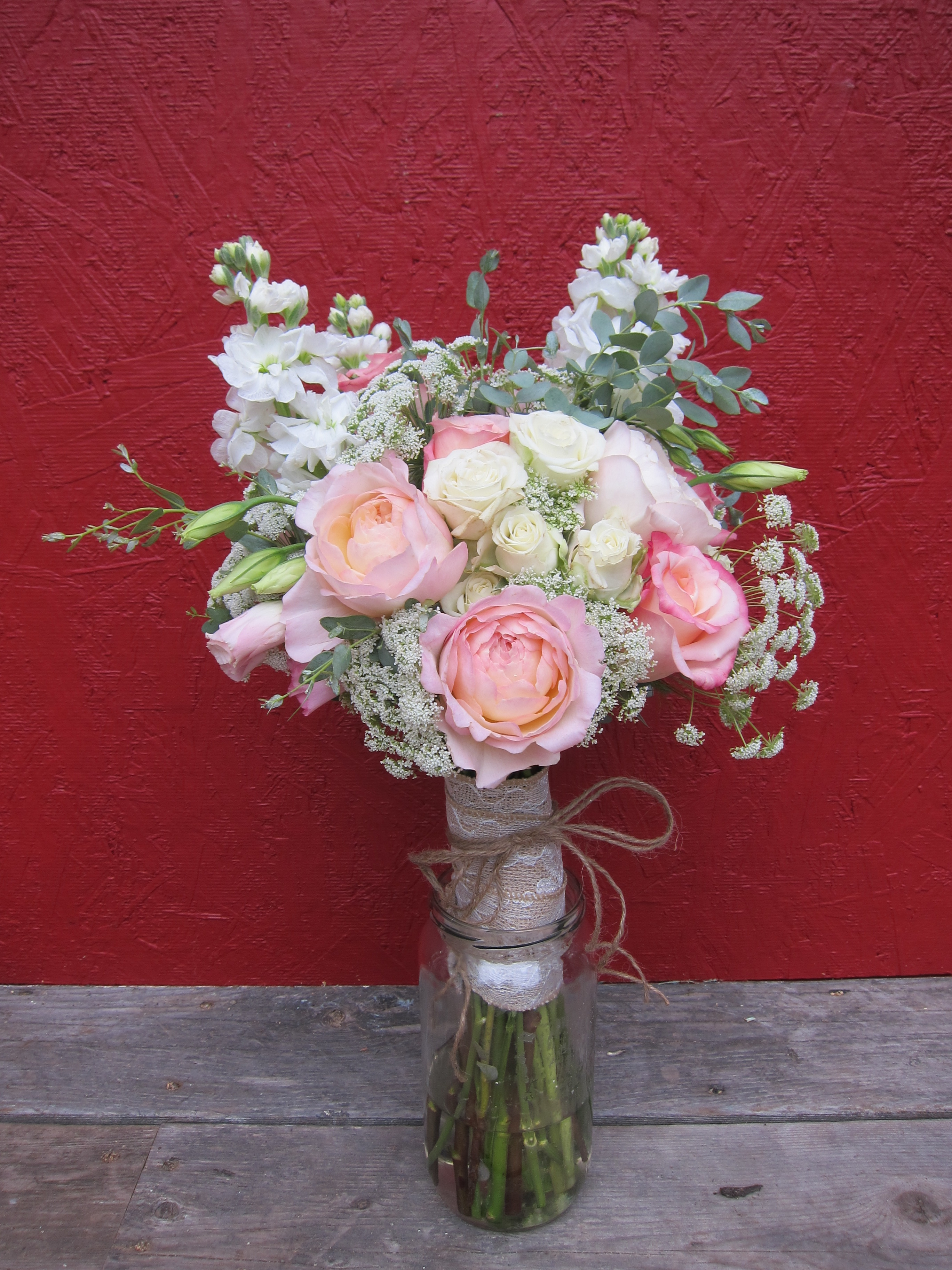 Bridal bouquet with blush garden roses queen annes lace stock weddings cara tylers mountaintop romance bridal bouquet izmirmasajfo