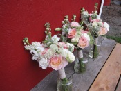 Bridal bouquet with blush garden roses, queen anne's lace, stock, lisianthus, eucalyptus, and spray roses | Wedding flowers designed by Natasha Price of Alaskaknitnat.com