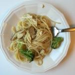Spaghetti & Chicken in a lemon, thyme mushroom sauce   An original recipe from Alaskaknitnat.com