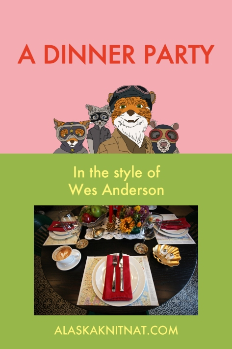 A Wes Anderson theme party | a tablescape in the style of The Royal Tenenbaums, The Grand Budapest Hotel and other fine films by Wes Anderson. Perfect for grown-up Halloween dinner parties. See more at alaskaknitnat.com