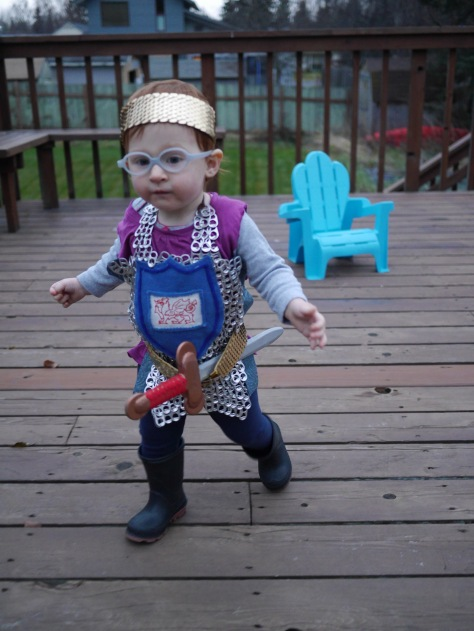 DIY Knight in Shining Armor Baby Costume | made from soda pop tabs and jump rings, this DIY baby costume is a great project for those dedicated crafty parents. Featured on Alaskaknitnat.com