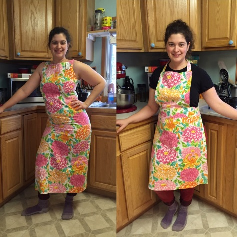 Refashion a thrift store linen dress into an apron | a free pattern from Alaskaknitnat.com