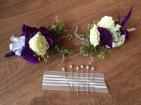 Alaska Winter Wedding | corsages made with white spray roses, statice, sage, mini myrtle, eucalyptus and purple mini carnations. Designed by Natasha Price of Alaskaknitnat.com