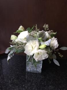 Centerpieces made with lisianthus, dusty miller, limonium and seeded eucalyptus   Wedding flowers designed by Natasha Price of Alaskaknitnat.com