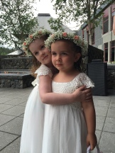 Flower crowns made with baby's breath and spray roses | Lovely flower girls, designed by Natasha Price of Alaskaknitnat.com