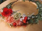 Flower crown made with eucalyptus, limonium, spray roses and mini carnations | Designed by Natasha Price of Alaskaknitnat.com
