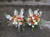 A creamsicle wedding | bridal bouquet made with peach roses, football mums, snapdragon, spray roses, lisianthus, limonium, hypericum, safflower and seeded eucalyptus. Designed by Natasha Price of Alaskaknitnat.com