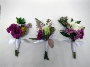 Boutonnieres made with button mums, spray roses, dahlia buds, myrtle, gold eucalyptus, ferns and waxflower | designed by Natasha Price of Alaskaknitnat.com