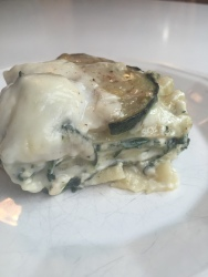 White vegetarian lasagna with spinach, zucchini and wild porcini mushrooms   a rich, flavorful dinner from Alaskaknitnat.com
