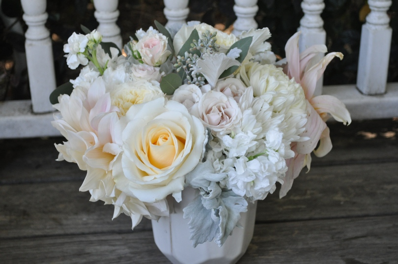 Marin Wedding - blush, ivory, white, cream and peach hues. Roses, mums and the cafe au lait dahlia. Absolute perfection | floral design by Natasha Price of Alaskaknitnat.com and Evan Facloner of Paper Peony