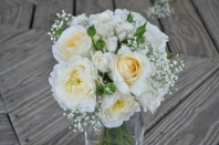Marin wedding: simple bridal bouquet made with ivory garden roses, peachy white roses, spray roses and baby's breath   Designed by Natasha Price of Alaskaknitnat.com and Evan Falconer of Paper Peony
