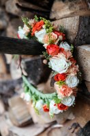 fall flower crown made with spray roses, hypericum berry, seeded eucalyptus, mini carnations and solidago | designed by Natasha Price of Alaskaknitnat.com