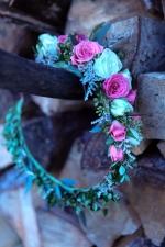 Shabby chic wedding flower crown made with limonium, eucalyptus and spray roses   Designed by Natasha Price of alaskaknitnat.com