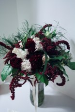 Burgundy and white wedding | a bridal bouquet with carnations, roses, amaranthus, lisianthus, tree fern, eucalyptus and salal. Perfect for a winter wedding. | designed by Natasha Price of alaskaknitnat.com