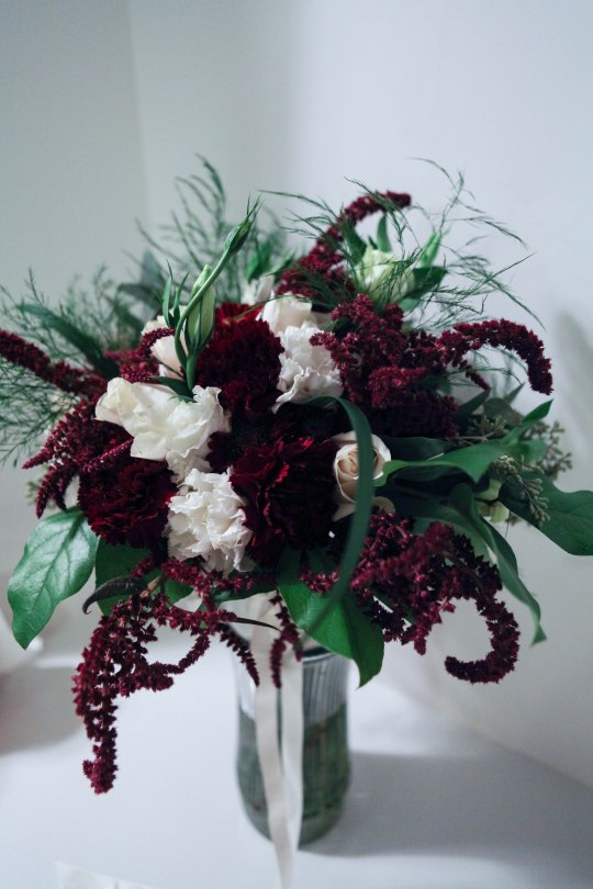 Burgundy and white wedding   a bridal bouquet with carnations, roses, amaranthus, lisianthus, tree fern, eucalyptus and salal. Perfect for a winter wedding.   designed by Natasha Price of alaskaknitnat.com