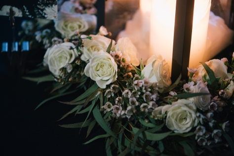 Wreaths made from willow eucalyptus, spray rose and waxflower | designed by Natasha Price and photo by Erica Rose Photography