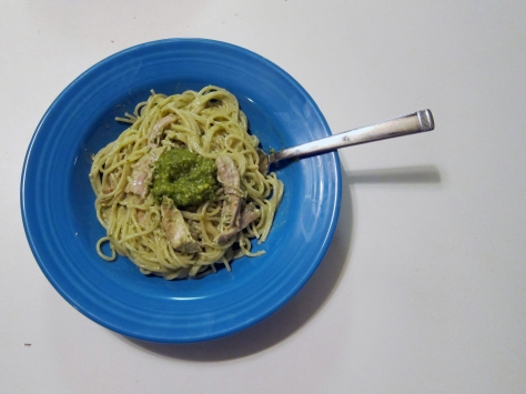 Looking for a flavorful weeknight meal? Try this simple creamy pesto with chicken from Alaskaknitnat.com