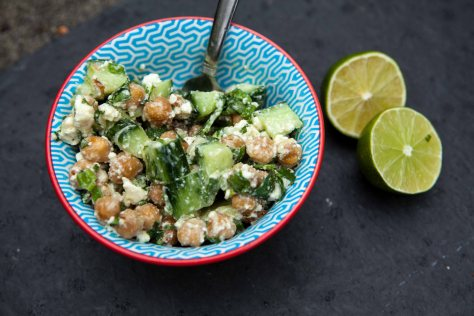 Cucumber chickpea salad with lime dressing | a recipe from Alaska Knit Nat