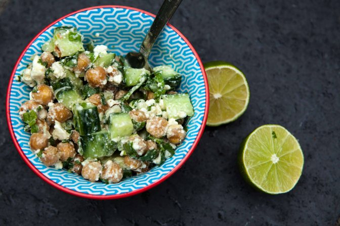 Cucumber chickpea salad with lime dressing